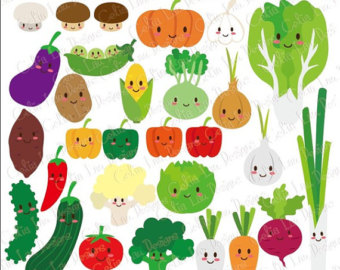 Vegetable clipart cute Kawaii (CG116) Happy Vegetable /