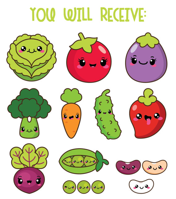 Vegetable clipart cute Healthy kawaii This veggies is