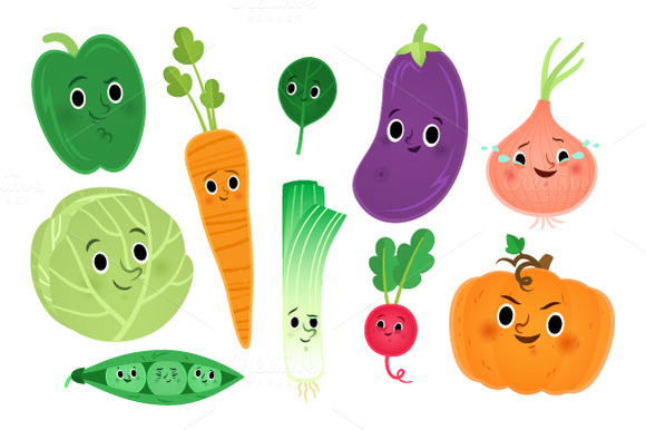 Vegetable clipart cute Cute veggies Cute Cliparts clipart