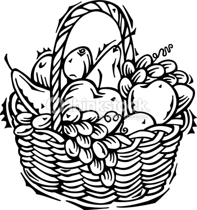 Fruits & Vegetables clipart basket drawing Clipart black and white of