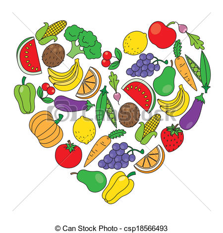 Vegetable clipart pop art Vegetables Heart Clipart of and
