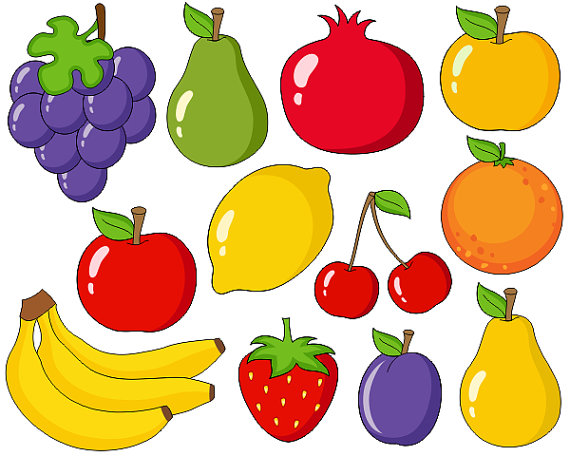 Pear clipart different fruit  Digital Fruits Cute Grapes