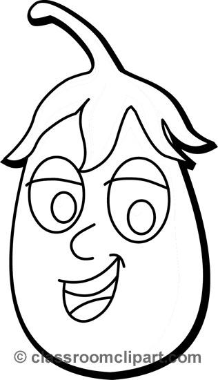 Eggplant clipart face Cartoons egg_plant_cartoon_vegetable_outline vegetable black :