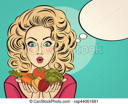 Vegetable clipart pop art Woman in holds that her