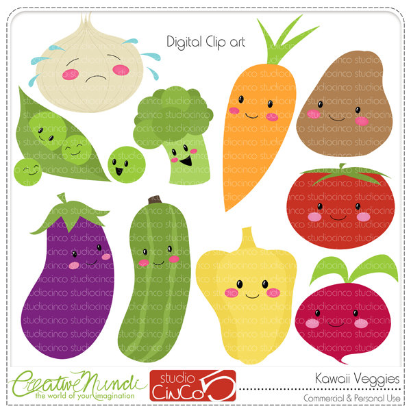 Vegetable clipart pop art Download Clipart Commercial Scrapbook Instant
