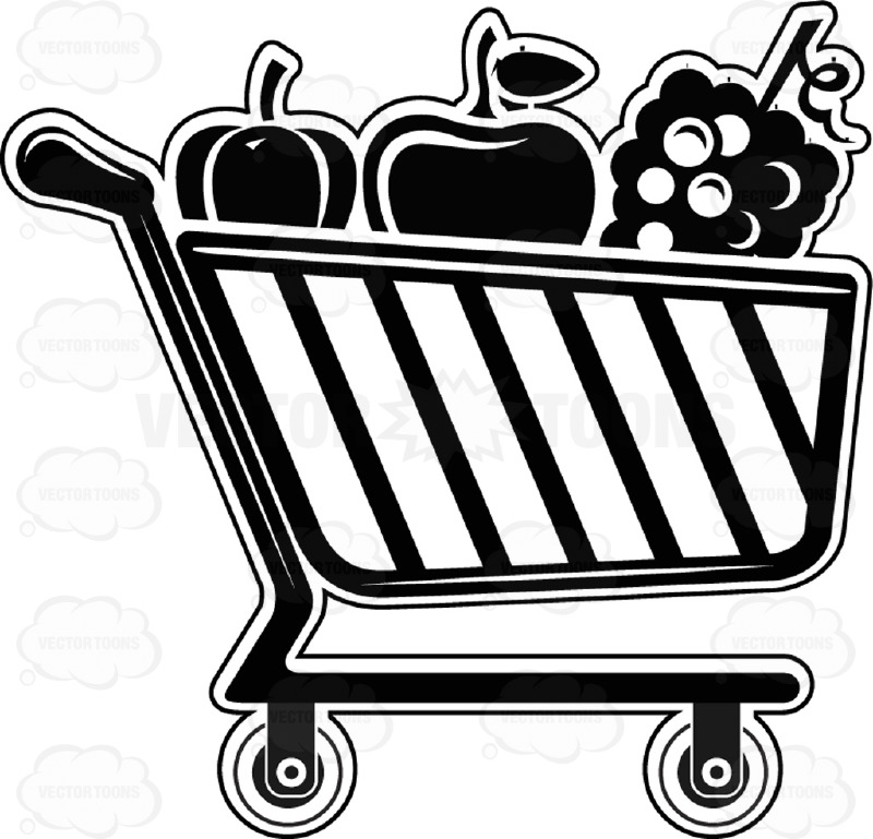 Vegetables clipart shopping basket Cart Clipart Black Buggy And