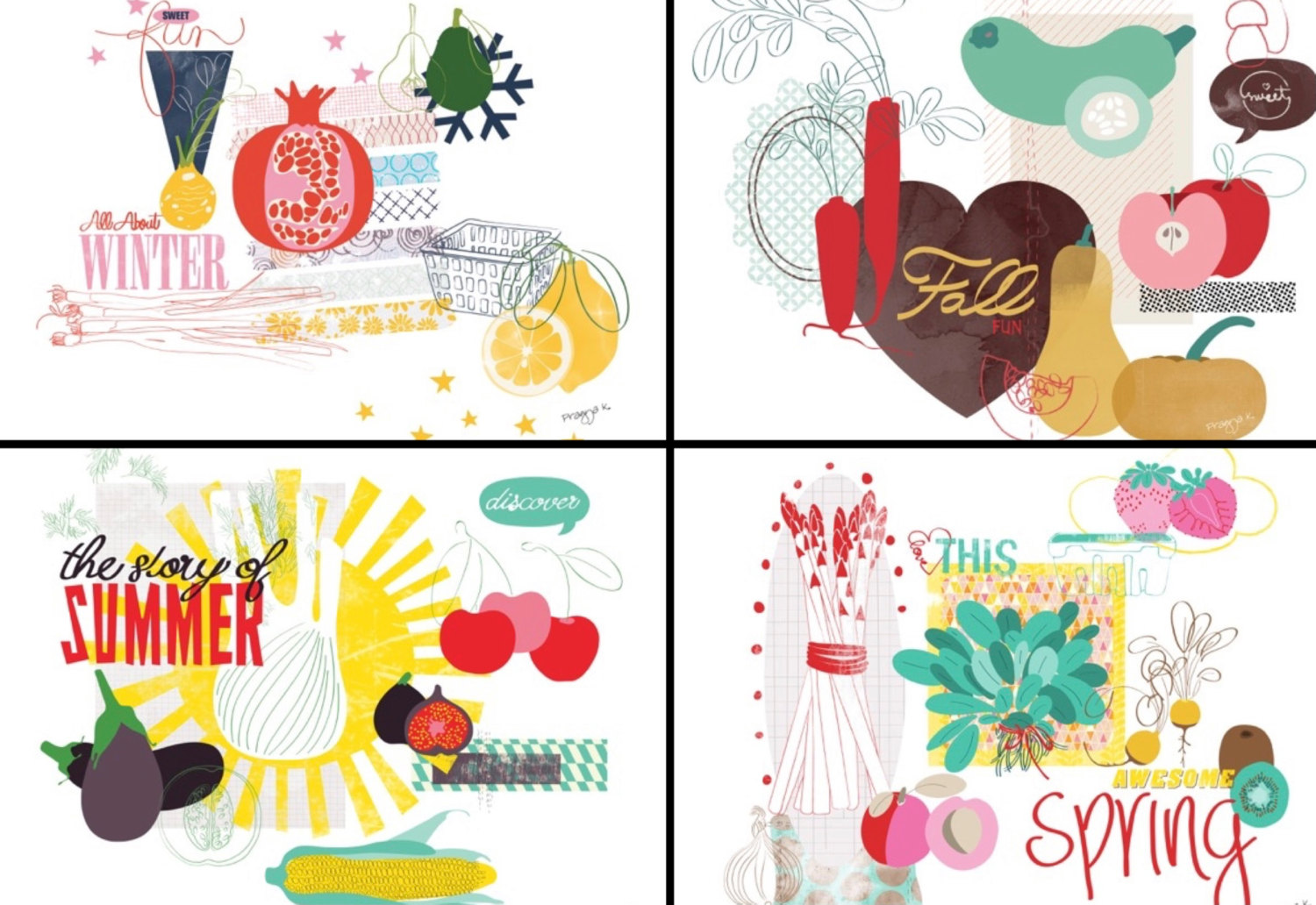 Fruits & Vegetables clipart summer food And art of print Winter