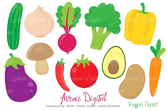 Vegetable clipart vector + Vectors Illustrations Clipart ~
