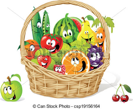 Vegetables clipart basket drawing Vector fruit vegetable of Clip