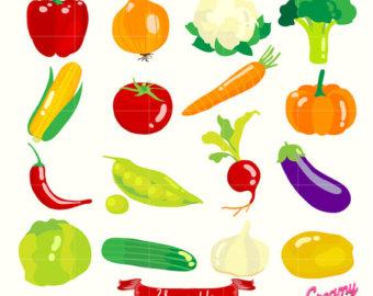 Harvest clipart vegetable gardening Vegetables Digital Digital Illustration /