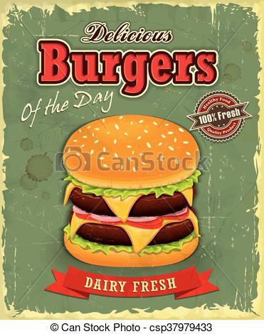 Veggie Burger clipart logo design Vintage Vector Clip of Vintage