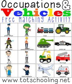 Vehicle clipart community helper Preschool Matching &  TransportationTransportation