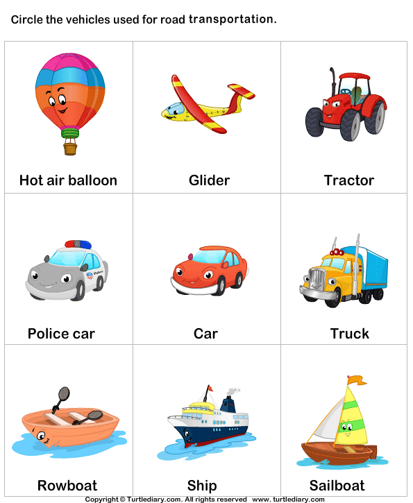 Vehicle clipart means transport Diary Transport Turtle Land Worksheet