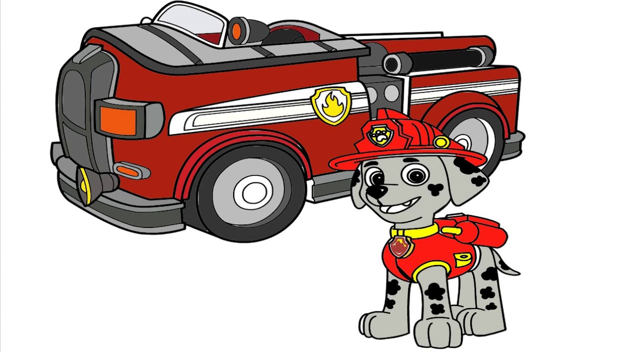 Vehicle clipart paw patrol Fire fire truck  Pages