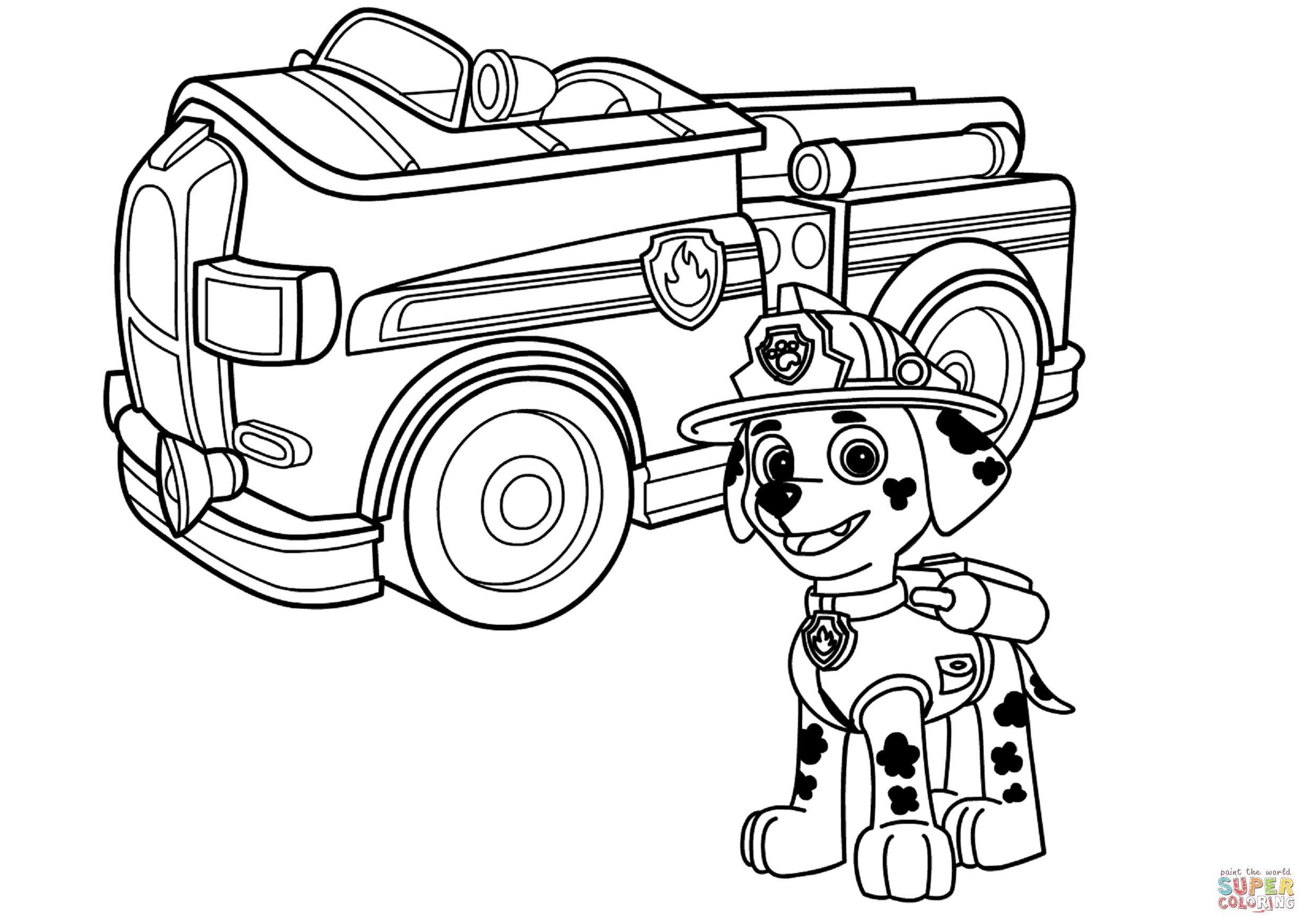 Fire Truck clipart coloring page Paw page Click coloring Patrol