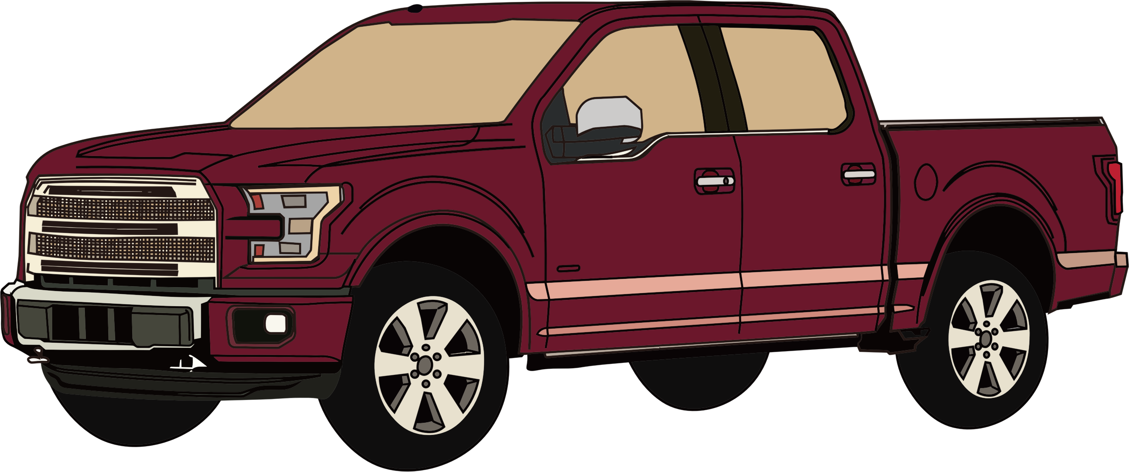Red clipart pick up truck #3