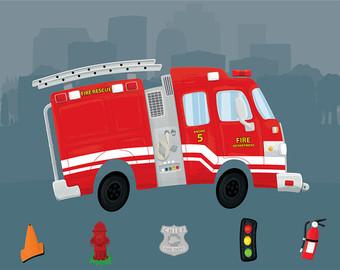 Fire Truck clipart digital Firetruck Digital Clip Firetruck Clipart