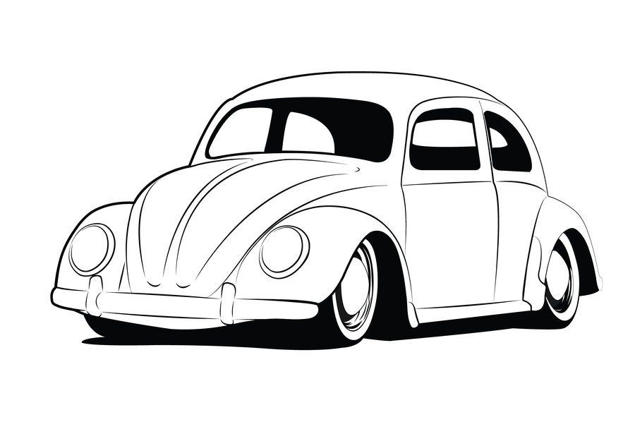 Classic Car clipart volkswagen bug Beetle on lineart vw beetle