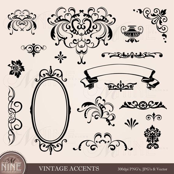 Classics clipart victorian scroll  Instant Clipart Art: ACCENTS
