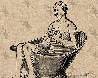 Bathtub clipart vintage Instant Bathtub image drawing Image
