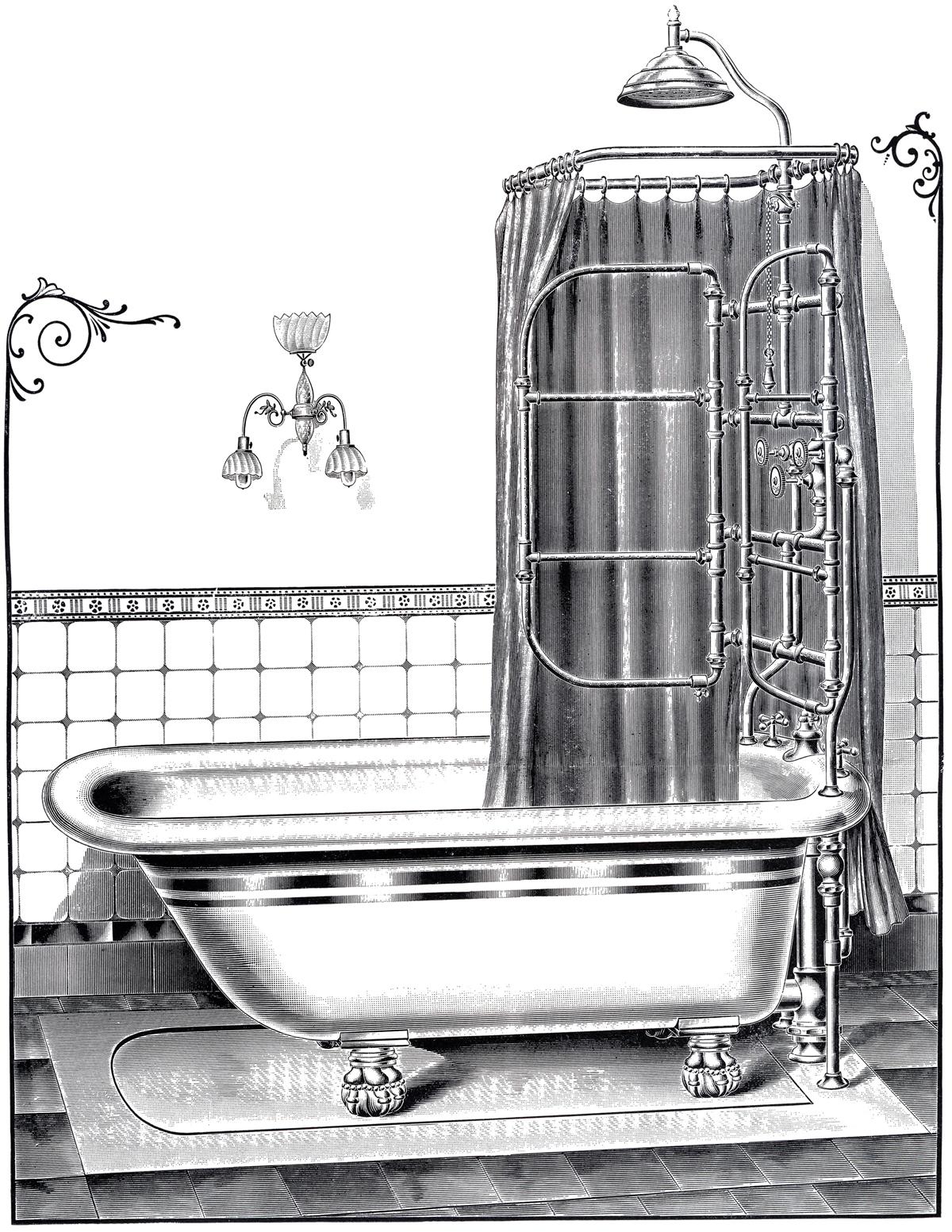 Bathtub clipart vintage The Vintage Printable Printable Bathtub