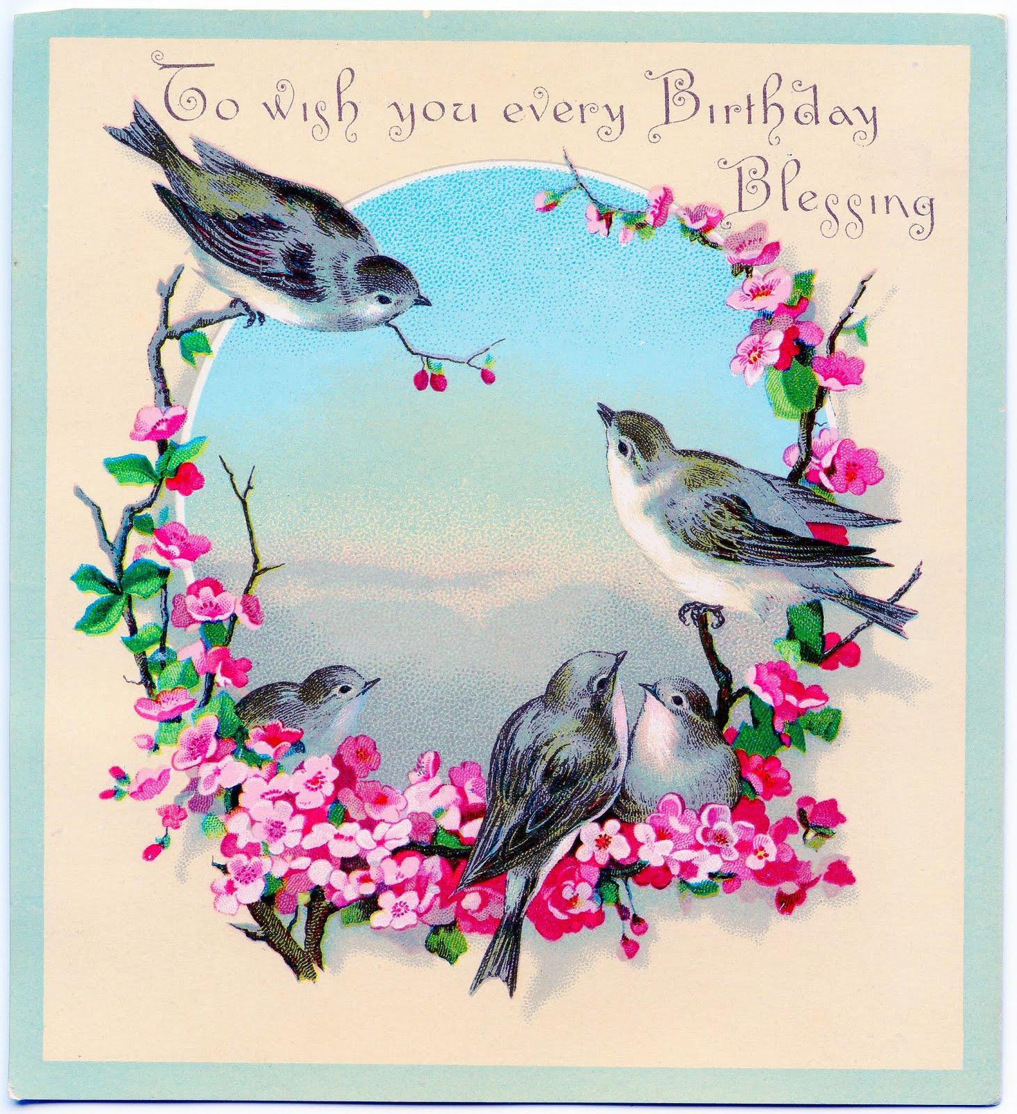 Birthday clipart bird Vintage Birthday  Birds Birthday