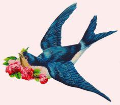 Bluebird clipart vintage Clipart Búsqueda flying blue de