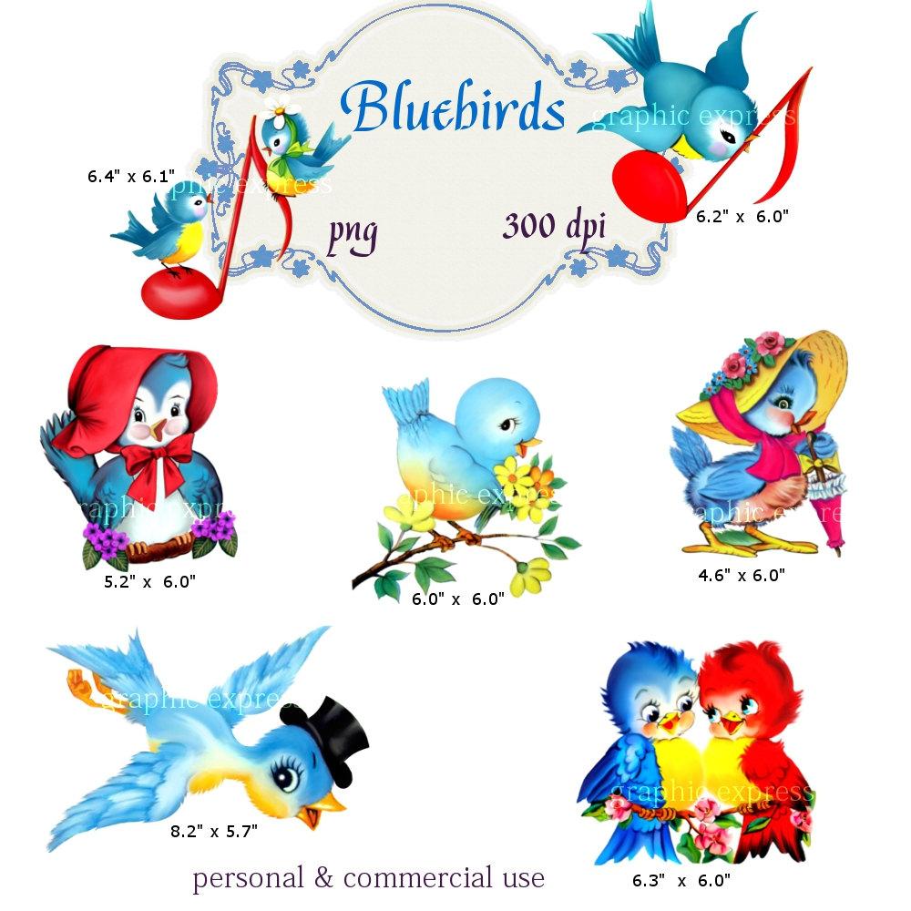 Bluebird clipart vintage Png Vintage Clip Art: Bluebirds
