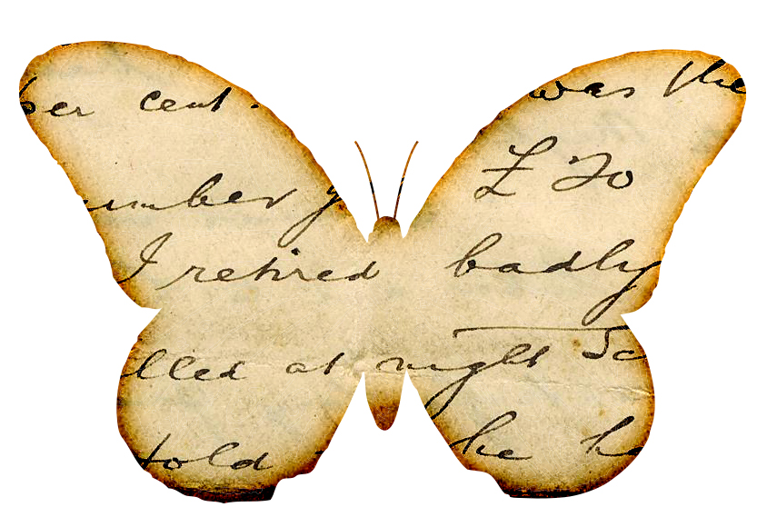 Butterfly clipart vintage Handwriting free inspiratio  Distressed