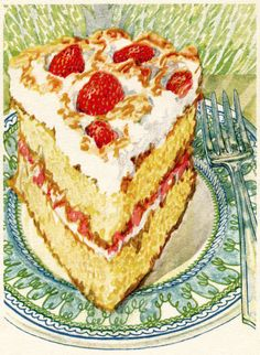Victorian clipart cake Sketch Victorian Strawberry Printable Clip