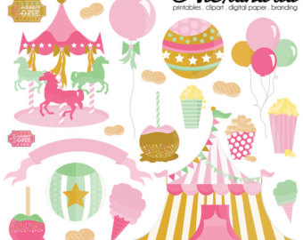 Pink clipart carousel Circus Carousel Personal Commercial Clipart