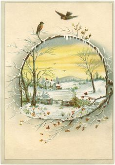 Victorian clipart christmas winter scene  prints of Vintage Beautiful