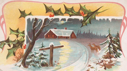 Victorian clipart christmas winter scene Antique Postcard snowy vintage christmas