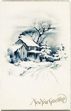 Victorian clipart christmas winter scene BLUE ORNAMENT illustration winter CLIP