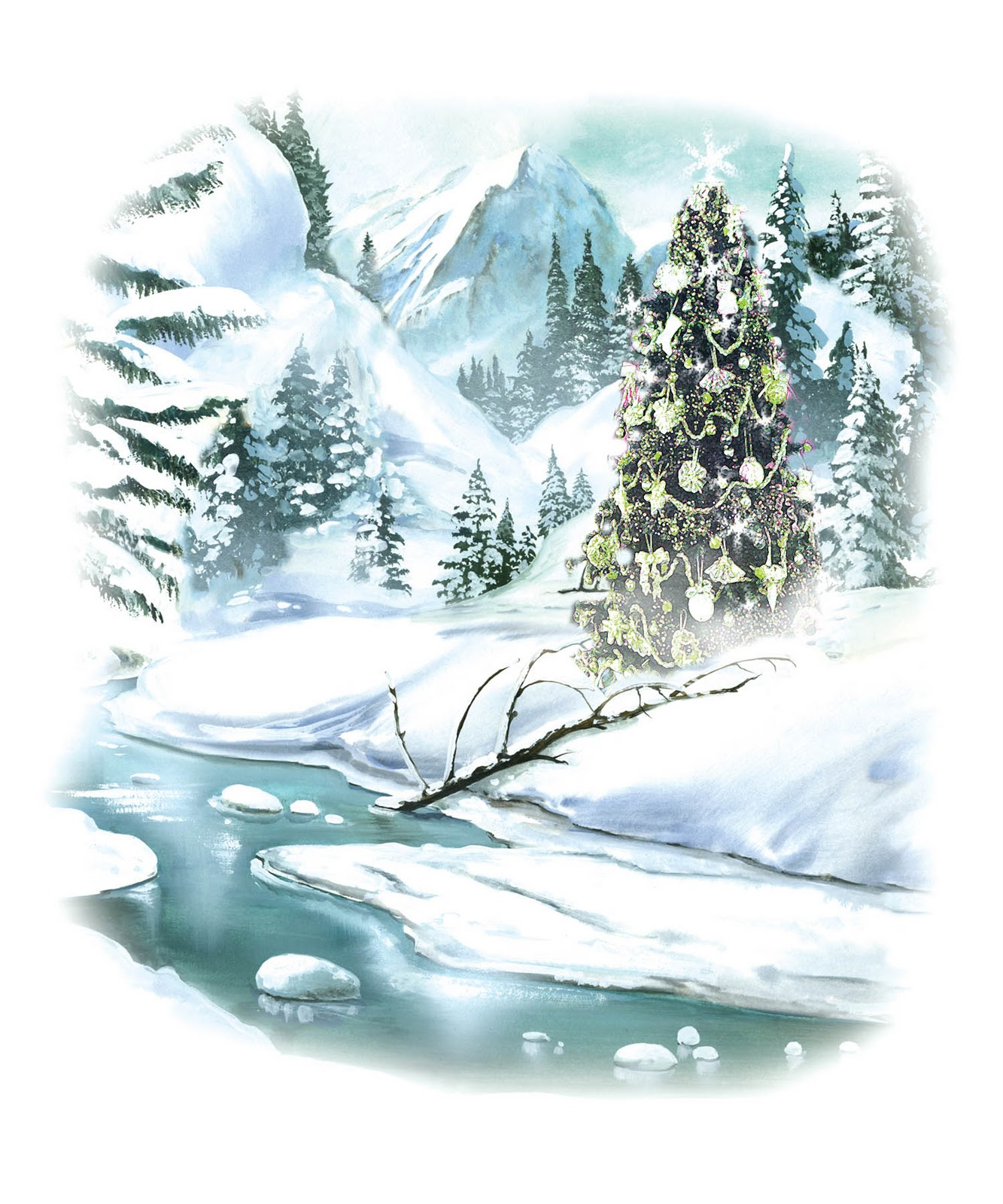 Victorian clipart christmas winter scene Free collection Tree clipart Clipart