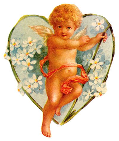 Cupid clipart antique  flower Vintage and cupid