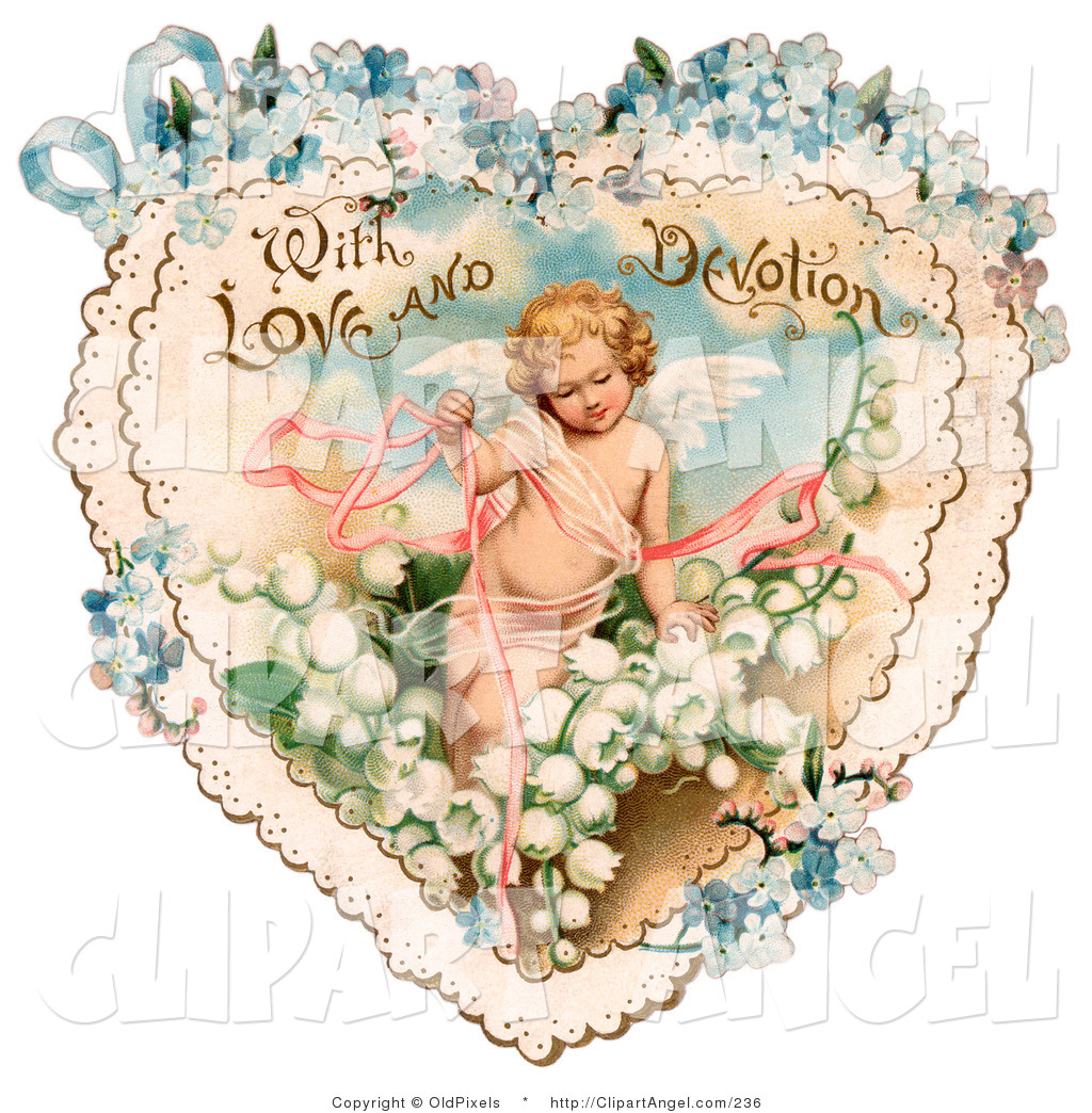 Cupid clipart antique Vintage Illustration in Ribbons Valentine
