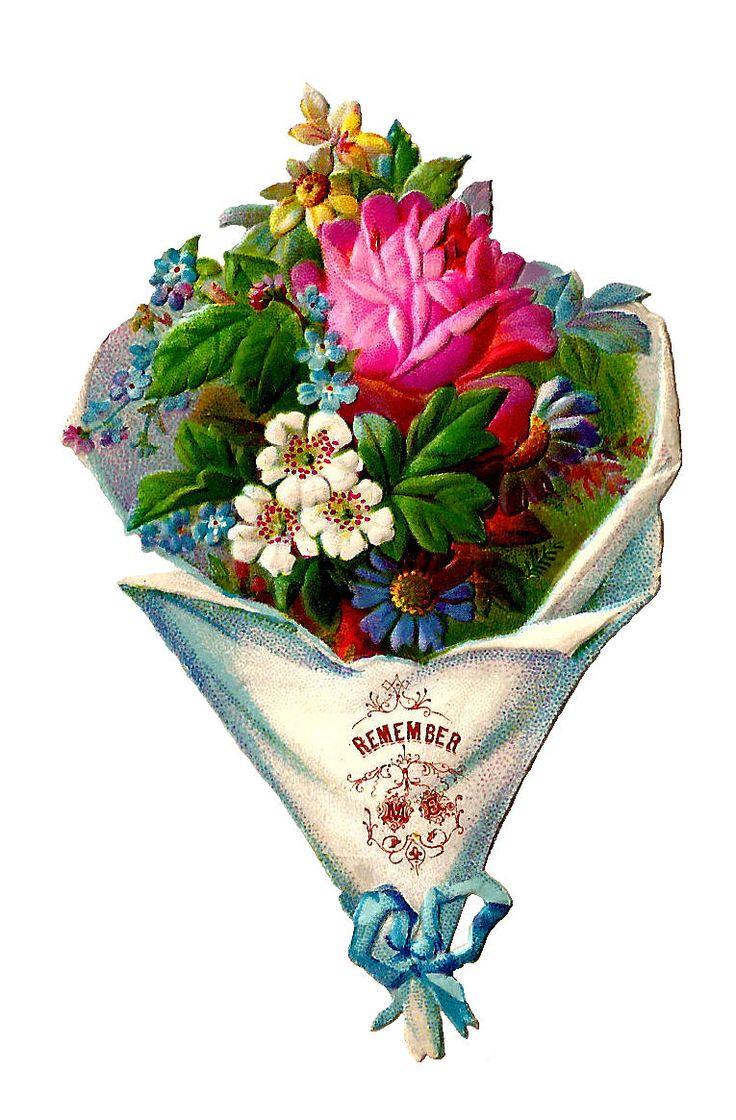 Vintage Flower clipart flower bunch And on Vintage Ribbon Flower