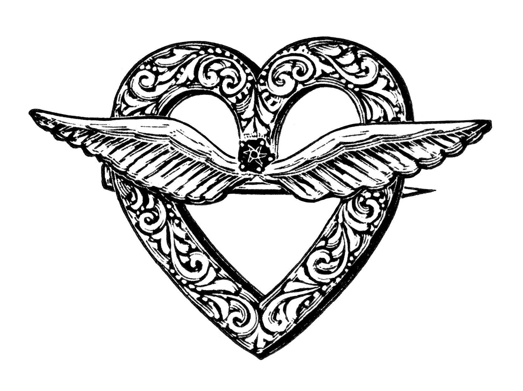 Wings clipart vintage Vintage Art Clipart Vintage Heart