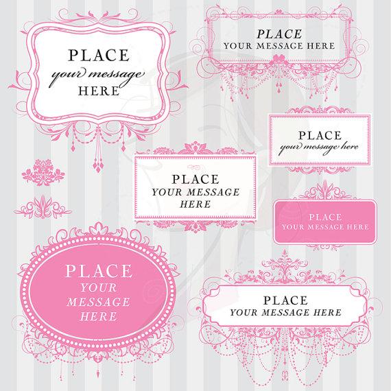 Chandelier clipart vintage frame Pink Engagement Clipart Ornate Clipart