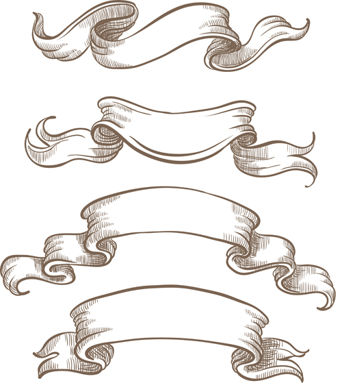 Drawn ribbon bow tie Hand benner vector vector drawn