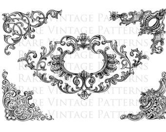 Victorian clipart rococo Stencil Mirror White Images x