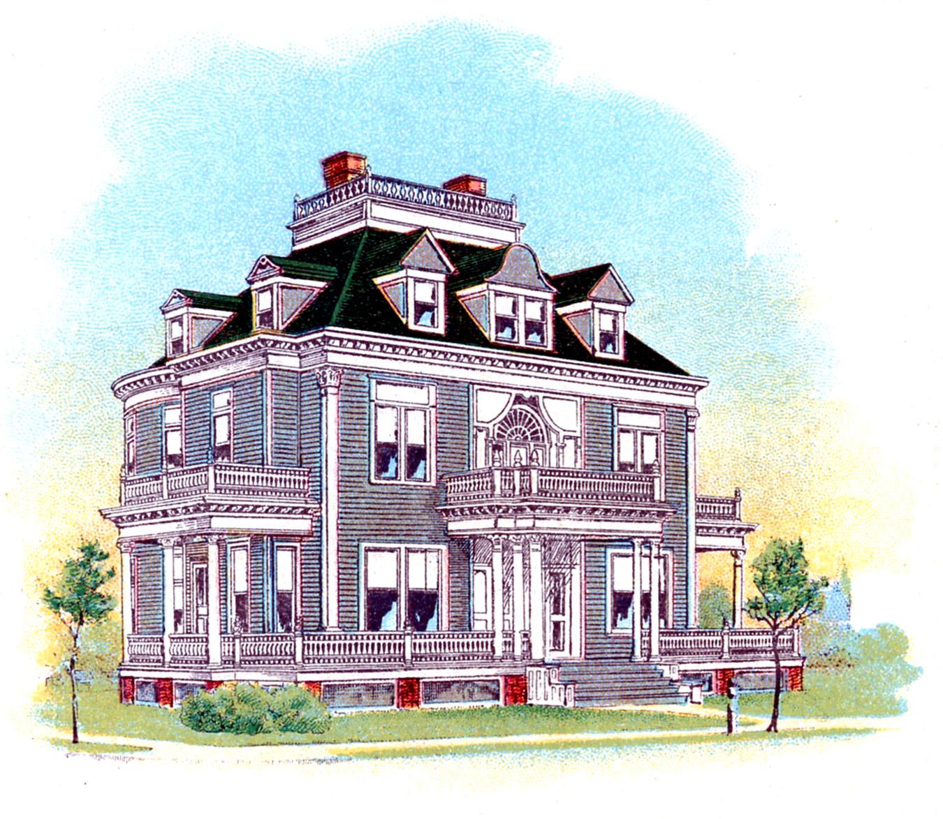 Villa clipart beautiful house Victorian Vintage Graphics House Victorian