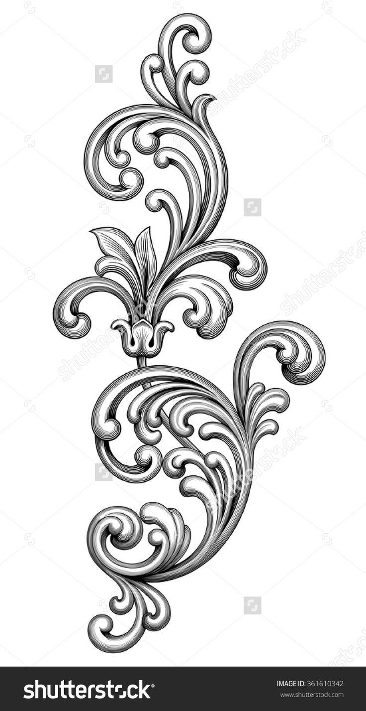 Victorian clipart vintage ornament Engraved Pattern Design Floral Pinterest