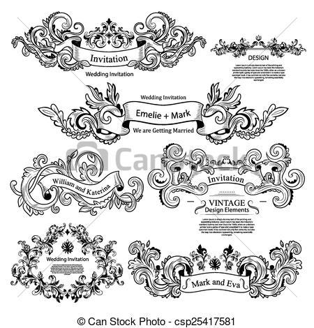 Victorian clipart vintage ornament Set Victorian Wedding design ornaments