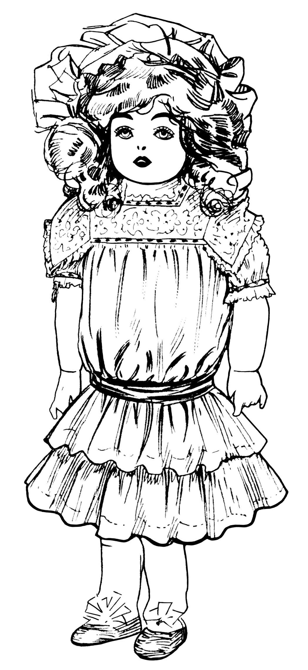 Victorian clipart vintage toy Art doll black art illustration