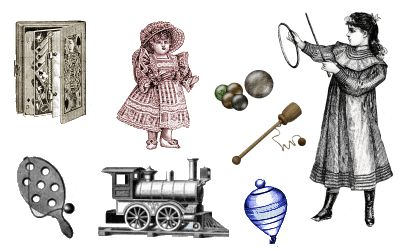 Victorian clipart vintage toy Ball of Vintage clothes toys