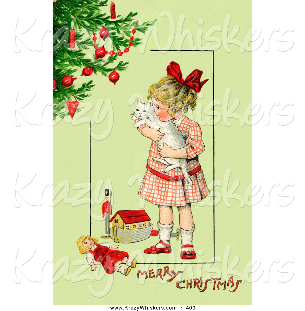 Victorian clipart vintage toy Christmas Girl Toys Clipart