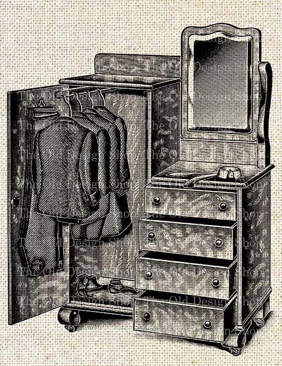 Victorian clipart wardrobe Victorian digital Wardrobe Closet This