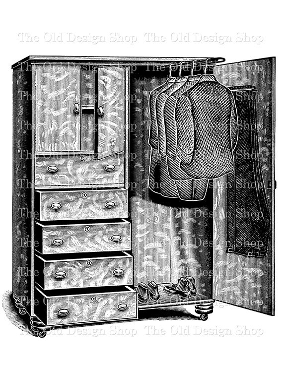 Victorian clipart wardrobe TheOldDesignShop No No Vintage Closet